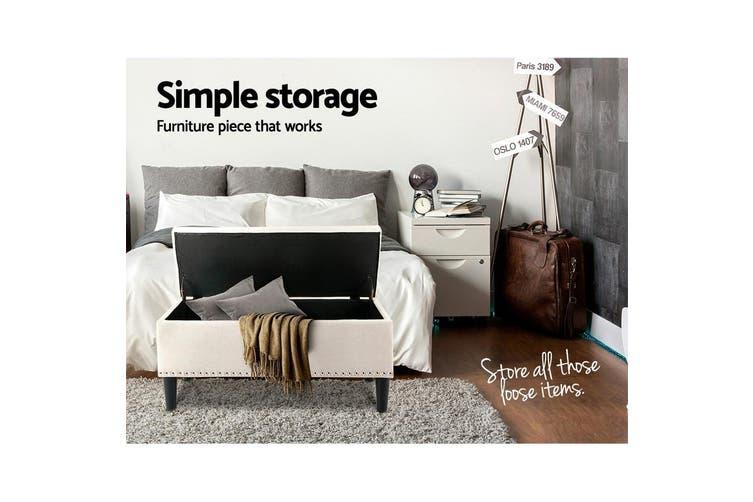 Artiss Sleek Linen Fabric Ottoman Storage Top Seat Cushion Blanket Box Bench Foot stool Beige Taupe