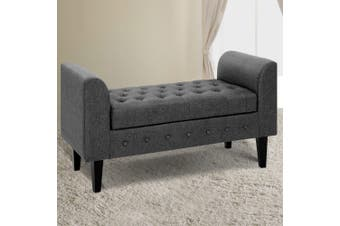 Artiss Multi Function Storage Ottoman Bench Seat Cushion Foot stool Armrest Design Blanket Box GREY