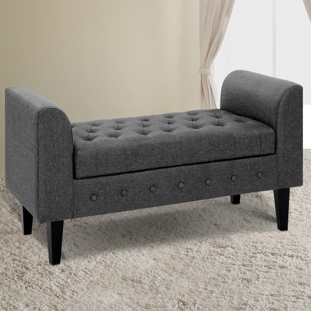 Picture of: Artiss Multi Function Storage Ottoman Bench Seat Cushion Foot Stool Armrest Design Blanket Box Grey Matt Blatt