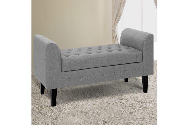 Artiss Multi Function Storage Ottoman Bench Seat Cushion Foot stool Armrest Design Blanket Box Light GREY