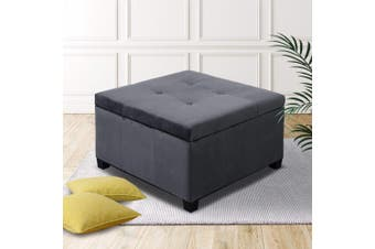 Artiss Velvet Storage Ottoman Footstool Blanket Pillow Box foot rest Couch Bench Toy Grey