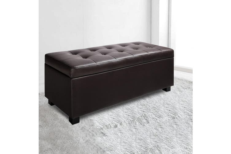 Dick Smith Artiss Premium Pu Leather Ottoman Blanket Storage Box Fabric Chest Footstool Cushion Top Seat Lift Up Lid Brown Benches Ottomans