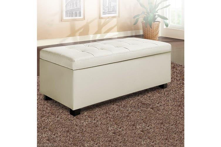 Artiss Premium PU Leather Ottoman Blanket Storage Box Fabric Chest Footstool Cushion Top Seat Lift up lid CREAM