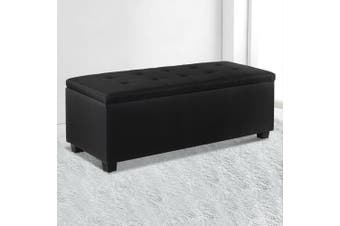 Artiss Faux Linen Blanket Storage Ottoman Box Fabric Chest Footstool Cushion Seat Lift up lid Charcoal Black