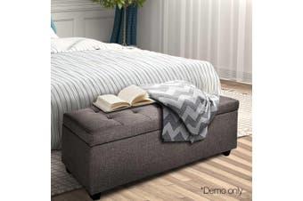 Artiss Large Fabric Storage Ottoman BROWN Top Seat Cushion Blanket Box Bench Foot Stool Linen Fabric