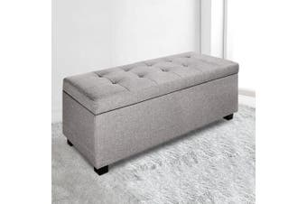 Artiss Faux Linen Blanket Storage Ottoman Box Fabric Chest Footstool Cushion Seat Lift up lid GREY