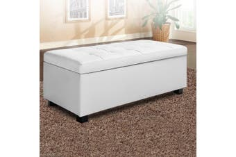 Artiss Large Fabric Storage Ottoman PU Leather WHITE Top Seat Cushion Blanket Box Bench Foot Stool Linen Fabric