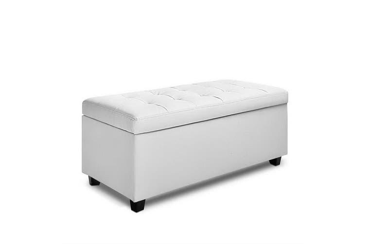 Artiss Large Fabric Storage Ottoman PU Leather WHITE Top Seat Cushion Blanket Box Bench Foot Stool Linen Fabric