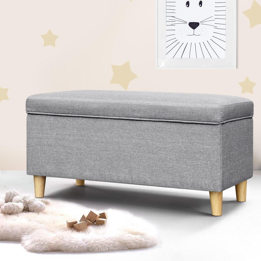 Artiss Kids Linen Fabric Ottoman Toy Storage Top Seat Cushion Blanket Box Bench Foot Stool Grey Matt Blatt