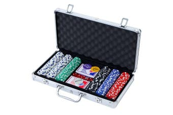 Poker Chip Set 300PC Chips with Case Casino Gamble Sets TEXAS HOLD'EM Gambling Party Game Dice Card Cards