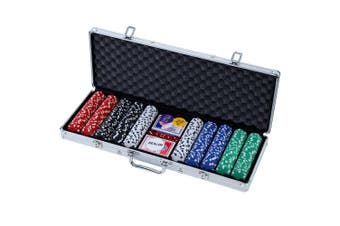 Poker Chip Set 500PC Chips with Case Casino Gamble Sets TEXAS HOLD'EM Gambling Party Game Dice Card Cards