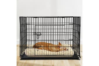 """i.Pet  42"""" Dog Cage Pet Crate Puppy Cat Foldable Metal Kennel Portable 3 Doors"""