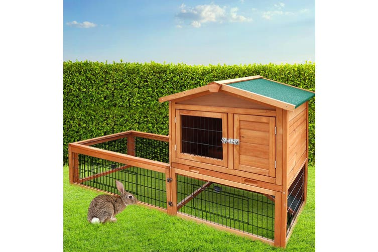 i.Pet Rabbit Hutch Hutches Large Metal Run Wooden Cage Chicken Coop