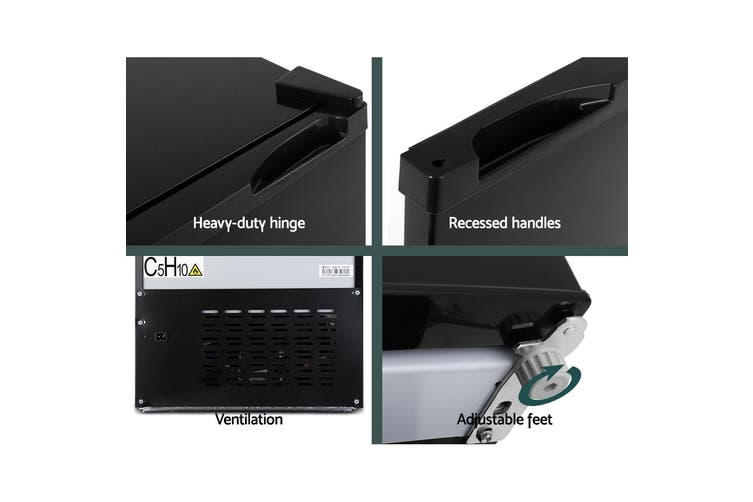 Glacio 80L Portable Fridge Bar Freezer Cooler Upright 12V/24V/240V Caravan 4WD Car Camping Black