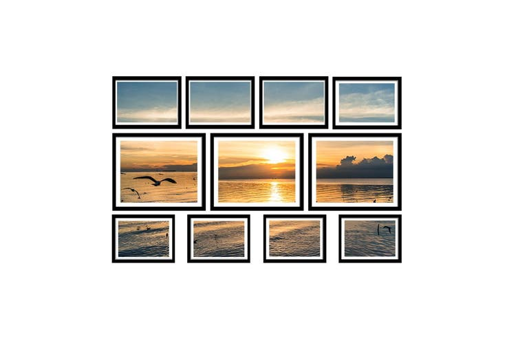 Photo Frames Set (Black) 11PCS Frame Digital Photos DIY Wall Collage Picturte Hanging Art Home Dcor Family Wedding Present Gift