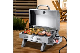 Grillz Portable Gas BBQ Grill Stainless Steel 1 Burner Camping Outdoor Kitchen Stove Smoker Oven