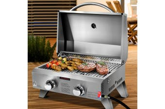 Grillz Portable Gas BBQ Grill Stainless Steel 2 Burners Camping Burner Outdoor Kitchen Stove Smoker Oven