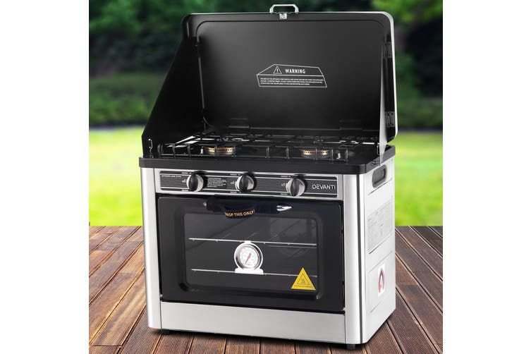 Devanti Portable Gas Oven Cooktop Camping Electric Stove 2 Burners LPG Burner Outdoor Kitchen Picnic Camp Silver Yellow