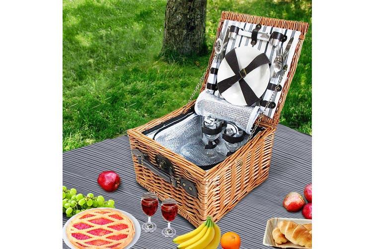 Alfresco Vintage 2 Person Picnic Basket Baskets Outdoor Insulated Blanket