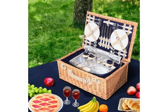 Alfresco 4 Wicker Person Picnic Basket Baskets Outdoor Insulated Blanket