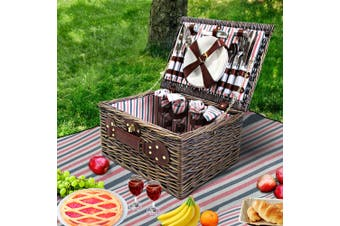 Alfresco Deluxe 4 Person Picnic Basket Baskets Outdoor Insulated Gift Blanket