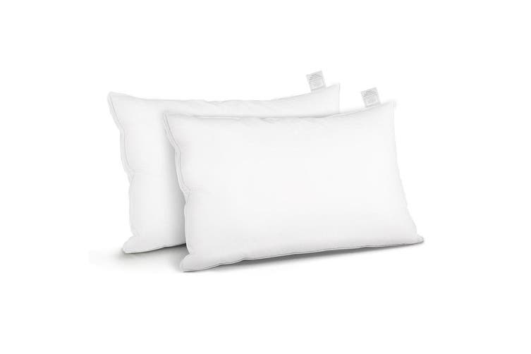 Giselle Bedding Goose Feather Pillows x2 Pillow Set Soft Contour Standard Size Twin Pack Hotel Bed