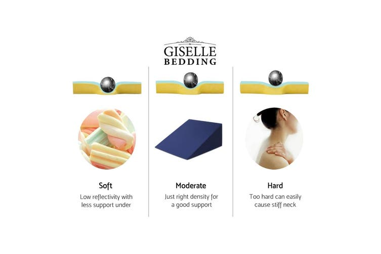 Giselle Bedding Memory Foam Wedge Pillow Cool Gel Neck Back Support Pillows Waterproof Cover 3 In 1 - Cushion Pillow Body Elevation