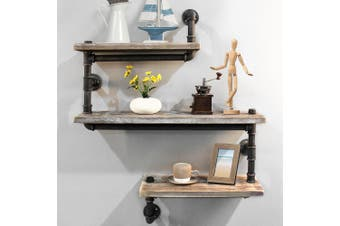 Artiss Display Shelves Rustic Bookshelf Industrial DIY Pipe Shelf Wall Brackets