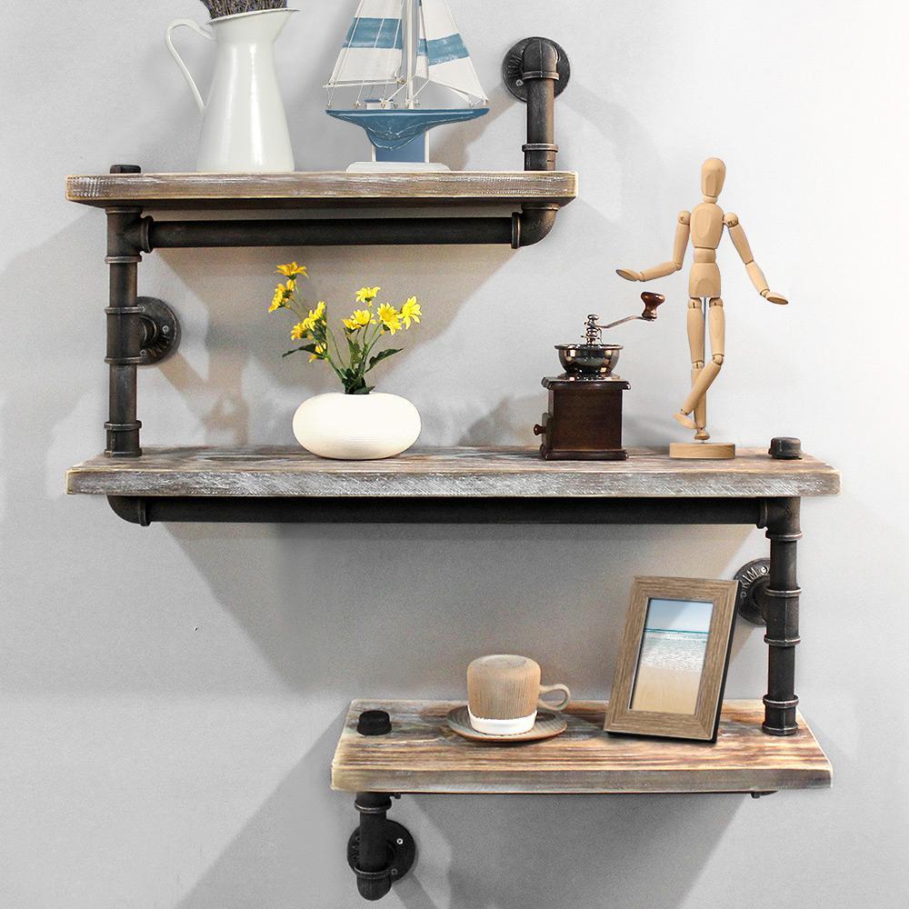 Picture of: Artiss Display Shelves Rustic Bookshelf Industrial Diy Pipe Shelf Wall Brackets Matt Blatt