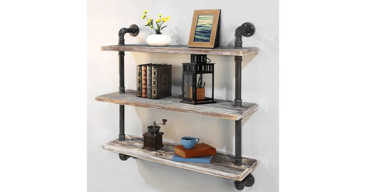92cm rustic industrial diy floating pipe 3 level suspension shelf home furniture