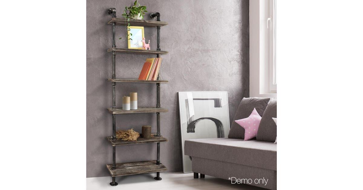 diy industrial 6 level pipe shelf home furniture