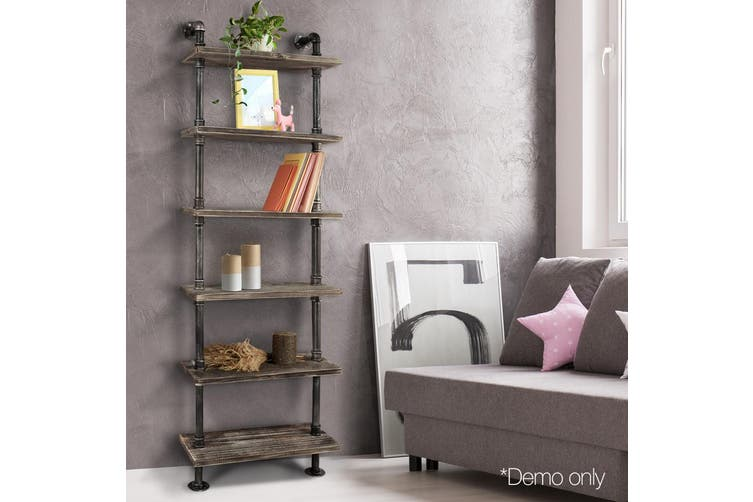 Artiss Rustic Wall Shelves Display Bookshelf Industrial DIY Pipe Shelf Brackets