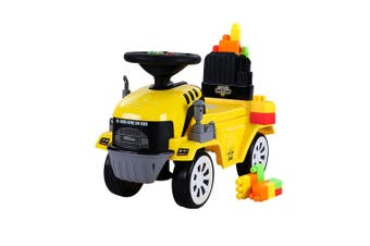 Keezi Ride On Car Kids Toys Yellow Building Blocks Toy Cars Truck Engine Toddler Children Kid Gift Present