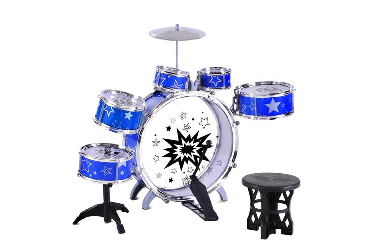 Keezi Kids Drum Set 6 Drums Kit Junior Music Toys Musical Play Mini Band Pretend Children Present Gift