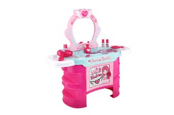 Keezi Kids Makeup Set Kit Make Up Kits Sets Vanity  Dressing Table Girl Toys Children Pretend Gift For Her Pink