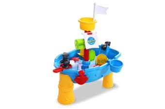 Keezi Kids Sand And Water Table Toys Play Set For Outdoor Sandpit Sand Pit Pirate Ship Shower Bath Toy 21PCS Blue Yellow