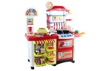 Keezi Kids Kitchen Set kitchens Playset Sets 59PCS Food Toys Pretend Stovetop  Oven Toy Children Play Cookware Red Yellow