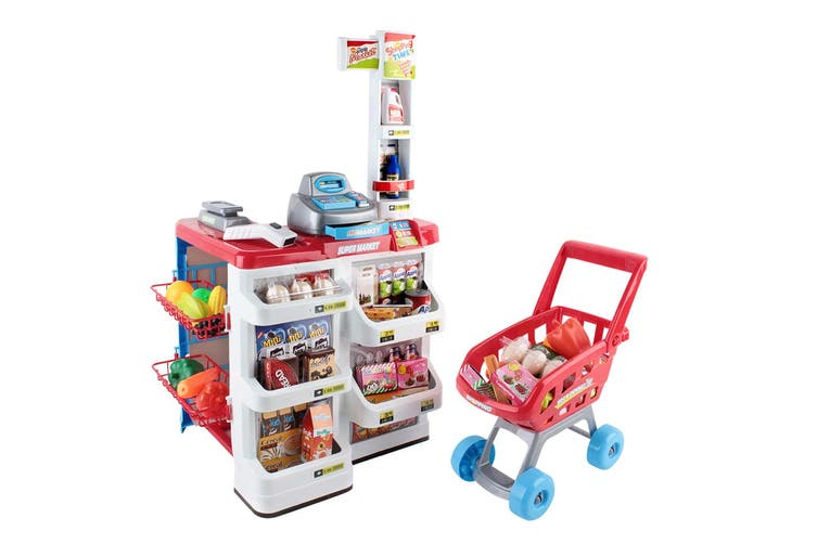 Keezi Kids Supermarket Playset Shopping Trolley Pretend Registration Toy Children Set Play Sets Red