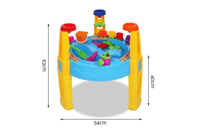 Keezi Kids Sandpit Outdoor Toys Umbrella Sand Pit 26PCS Beach Water Toy Table Chair Children Kid Play