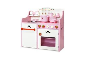 Keezi Kids Berry PINK Wooden Kitchen Play Set 9 Piece accessories Cooking Oven Table Top Utensils Toy Set  Children Play Pretend