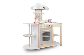 Keezi Kids Children Wooden Kitchen Play Set 9 Piece accessories Cooking Oven Table Top Utensils Toy Set 102cm Tall Play Pretend