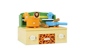 Keezi Kids Zoo Themed Kitchen Play Toy Set Wooden Mini Stovetop Role play Cookware Utensil toy