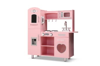 Keezi Kids Children Wooden Kitchen Play PINK Cooking Accessories Dispenser Microwave Oven Table Top Utensils Toy Set  Play Pretend