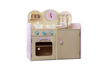 Keezi Kids Wooden Kitchen Play Set FLORAL YELLOW Cooking Accessories Dispenser Microwave Oven Table Top Utensils Toy Children Play Pretend