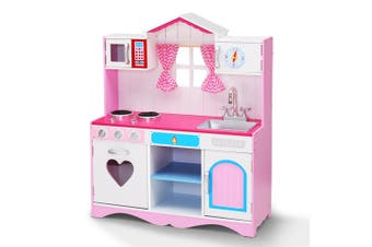 Keezi Kids Wooden Kitchen Play Set Princess PINK Cooking Accessories Dispenser Microwave Oven Table Top Utensils Toy Children Play Pretend