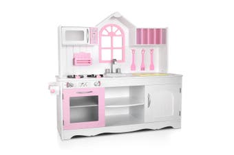 Keezi Kids Wooden Kitchen Play Set Princess WHITE  Cooking Accessories Dispenser Microwave Oven Table Top Utensils Toy Children Play Pretend