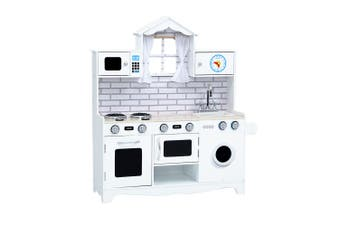 Keezi Kids Children Wooden Kitchen Play MODERN WHITE Cooking Accessories Dispenser Microwave Oven Table Top Utensils Toy Set  Play Pretend