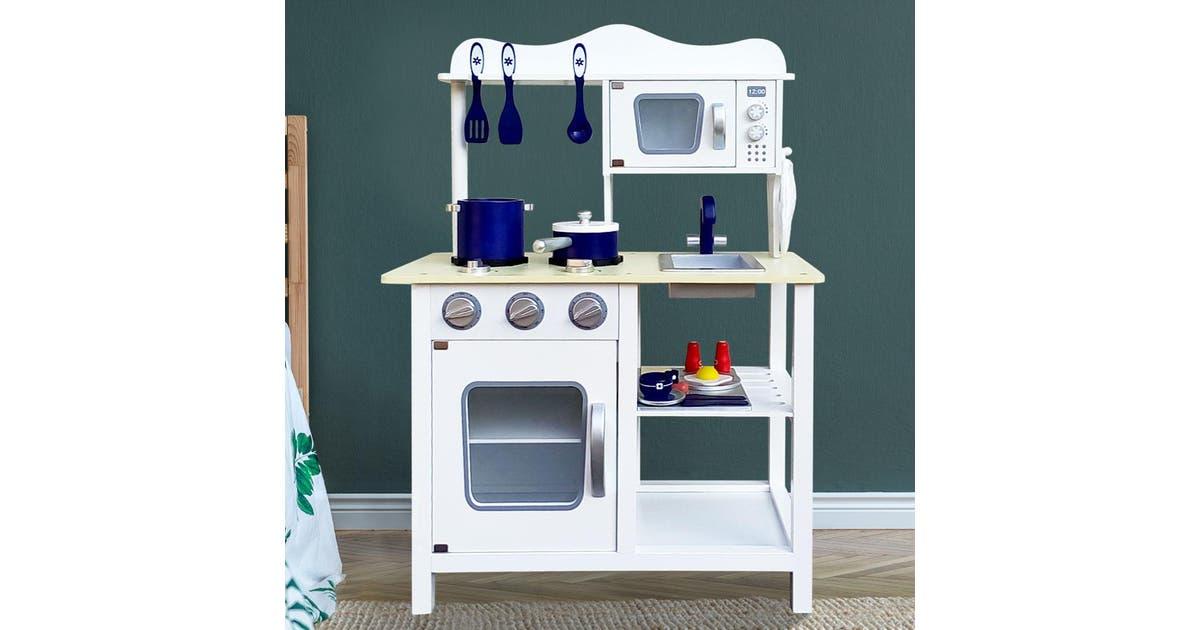 Dick Smith Keezi Kids Kitchen Kids Toys Set White Blue Pretend Play