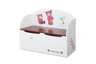 Keezi Kids Toy Box Storage Wooden White Chest Children Bedroom Furniture Chair Organizer