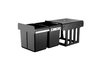 Devanti Pull Out Bin 2x 15L Dual Twin Bins Kitchen Black Pantry Base Or Door Mount Rubbish Concealed In Cabinet Garbage
